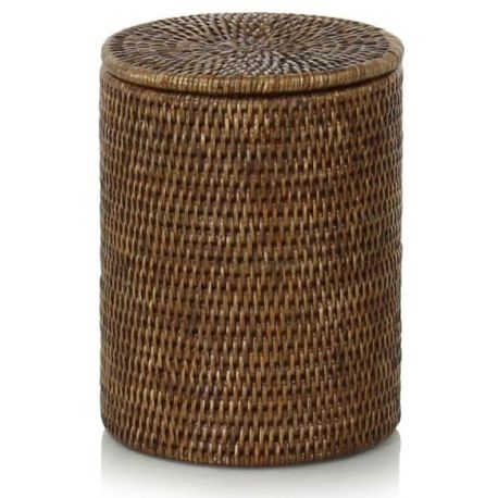 Round wicker box with lid (2 sizes)