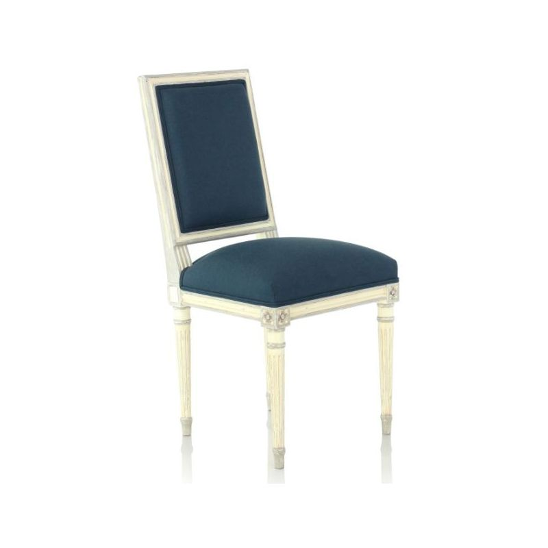 chaise louis xvi patin e tissu bleu trianon saulaie. Black Bedroom Furniture Sets. Home Design Ideas
