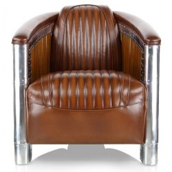 Wood aluminium brown leather club armchair - Normandie