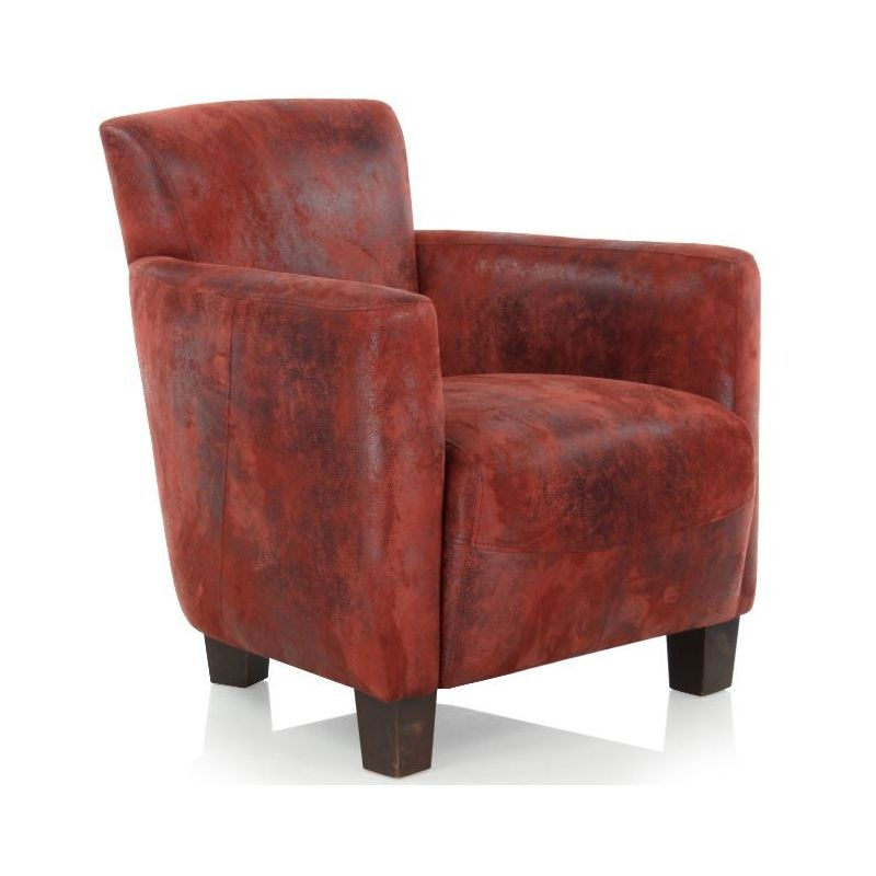 fauteuil club tissu rouge alma saulaie. Black Bedroom Furniture Sets. Home Design Ideas