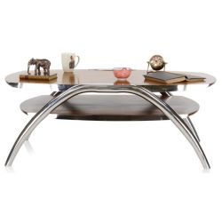 Tripoli coffee table - solid wood and stainless steel