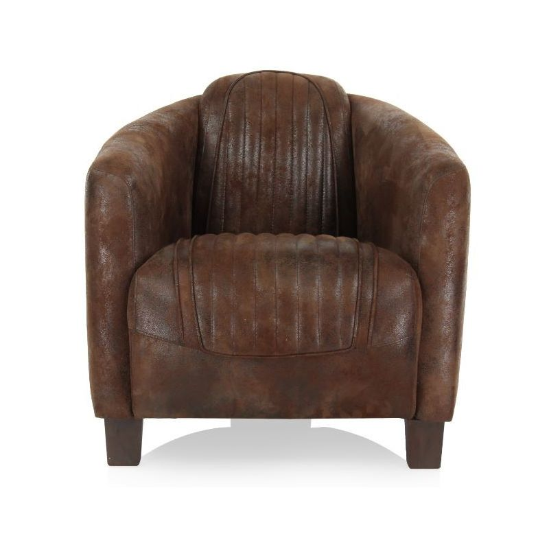 fauteuil club tissu chocolat op ra sport saulaie. Black Bedroom Furniture Sets. Home Design Ideas