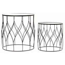 Tables d'appoint ronde, lot de 2 - Taroudan noir