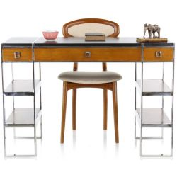 Desk in wood, leather and stainless steel, large model - La Boétie