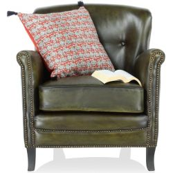 Olive green leather club sofa - Middletown