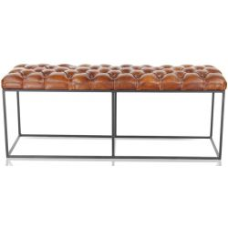 Banquette en cuir marron - Chesterfield