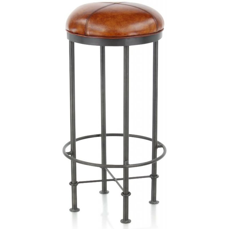 tabouret de bar cuir marron clair et m tal eliott saulaie. Black Bedroom Furniture Sets. Home Design Ideas