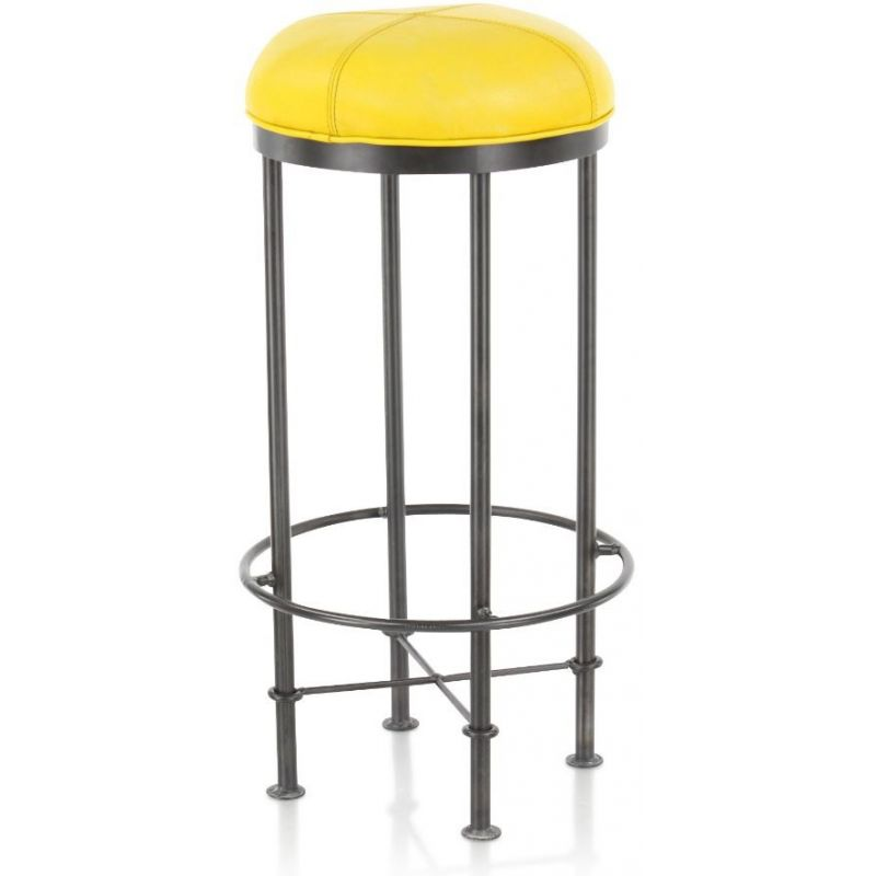 tabouret de bar cuir jaune et m tal eliott saulaie. Black Bedroom Furniture Sets. Home Design Ideas
