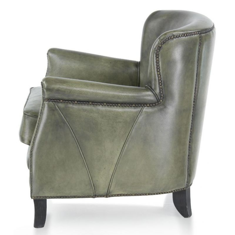 fauteuil club cuir vert de gris middletown saulaie. Black Bedroom Furniture Sets. Home Design Ideas