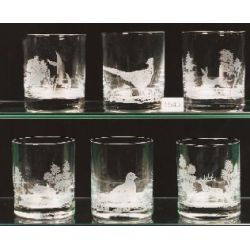 Hunting animal whisky glasses, set of 6