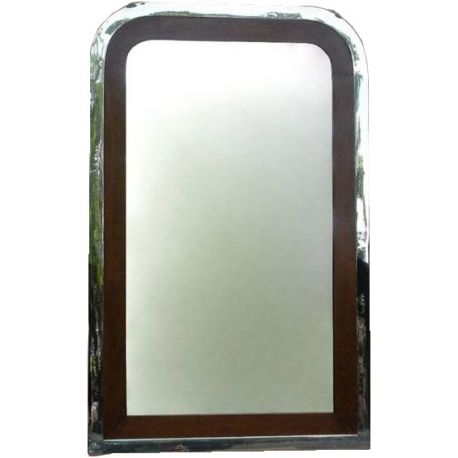 Stainless steel and wood mirror