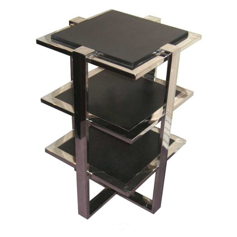 Stainless steel occasional table, X-shaped support- La Boétie
