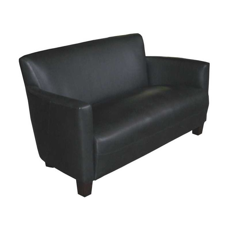 Black leather club sofa - Alma