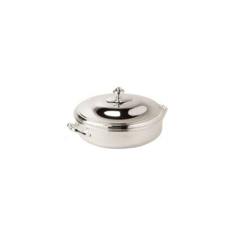 Round vegetable dish in silver-plated metal