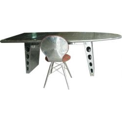 Desk in solid wood and aluminium, aeroplane wing - Aviator