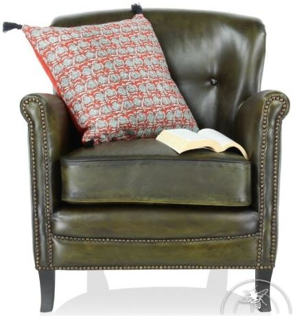 Fauteuil club Middletown cuir vert olive