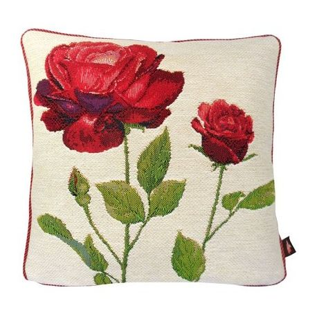 Coussin 2 roses rouges, fond blanc