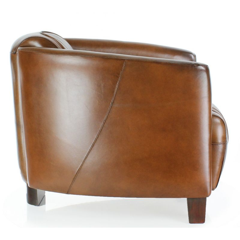 Fauteuil Club Opera Sport cuir vintage