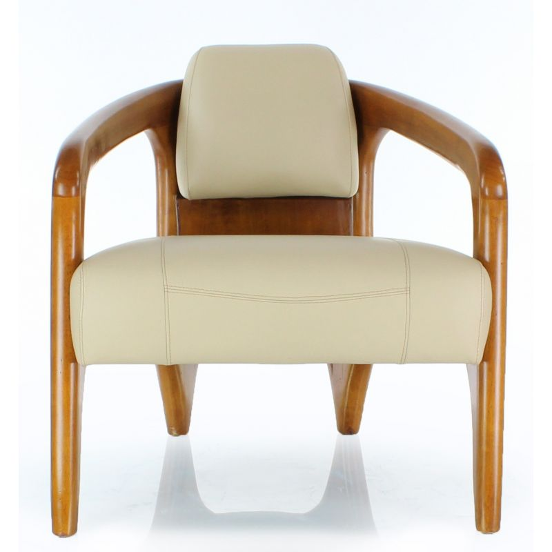 Fauteuil scandinave cuir beige - Lund