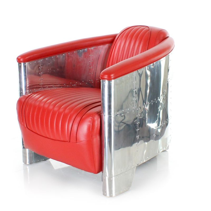 Fauteuil club cuir rouge - Aviator