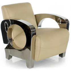 Fauteuil club cuir beige - Beaubourg