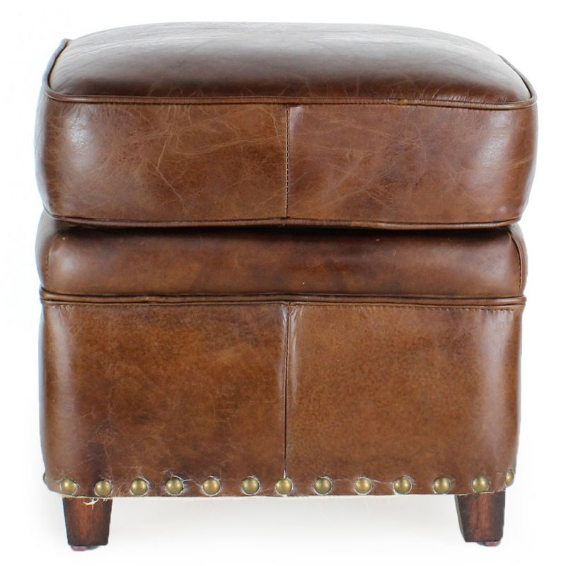 Repose pied cuir marron vintage - Middletown