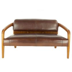Canapé design scandinave cuir marron vintage 2 places - Lundel