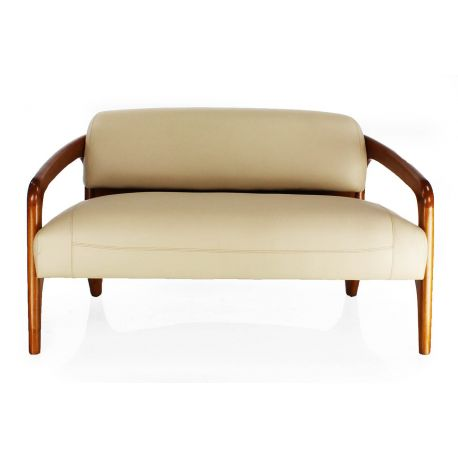 Canapé design scandinave cuir beige 2 places - Lund