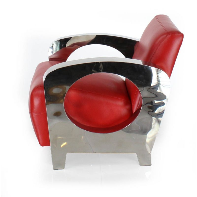 Fauteuil club cuir rouge Beaubourg - SAULAIE