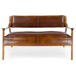 Canapé design scandinave cuir marron 2 places - Ferdinand