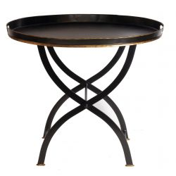 Table d appoint ovale noir brillant - Vatel