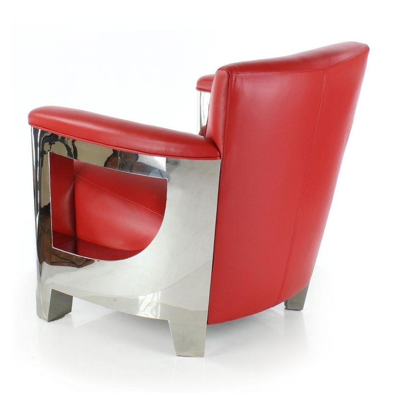 Fauteuil club cuir rouge - Iéna