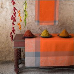 Nappe en lin - Pondichery orange carrée
