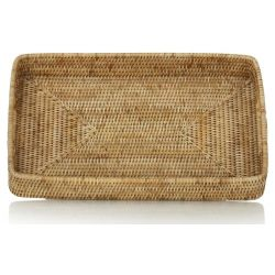 Plateau rectangulaire en rotin naturel