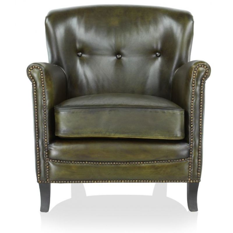 fauteuil club cuir vert olive middletown saulaie. Black Bedroom Furniture Sets. Home Design Ideas