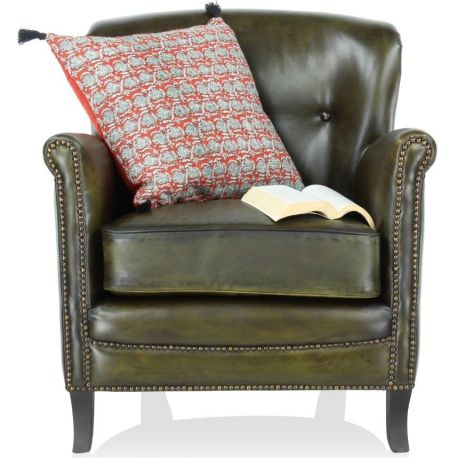 Fauteuil club cuir vert olive - Middletown