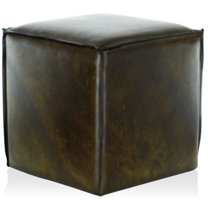 Pouf cuir Olive - Cube