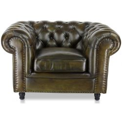 Fauteuil cuir vert olive - Chesterfield