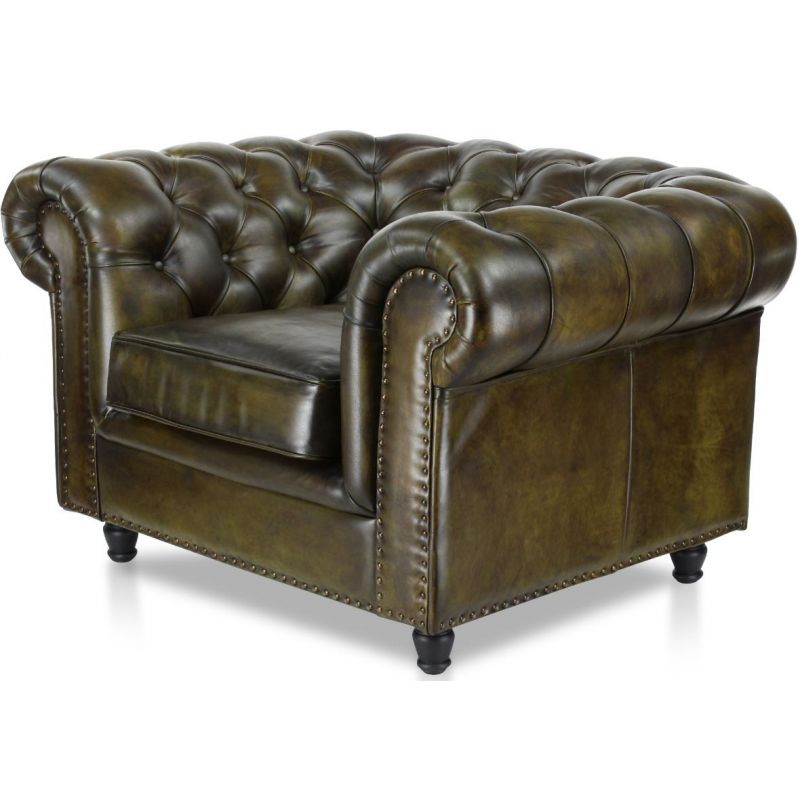 Fauteuil Chesterfield cuir vert olive - Grand