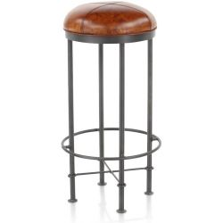 Tabouret de bar industriel cuir marron clair - Eliott