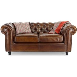 Canapé chesterfield cuir marron vintage - 2 places