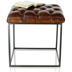 Pouf en cuir marron vintage - Chesterfield