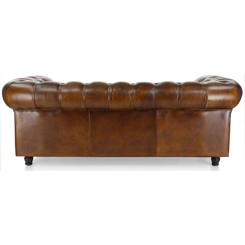 Canapé chesterfield cuir marron vintage - 3 places