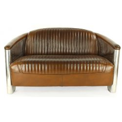 Canapé club cuir marron vintage 2 places - Saintex