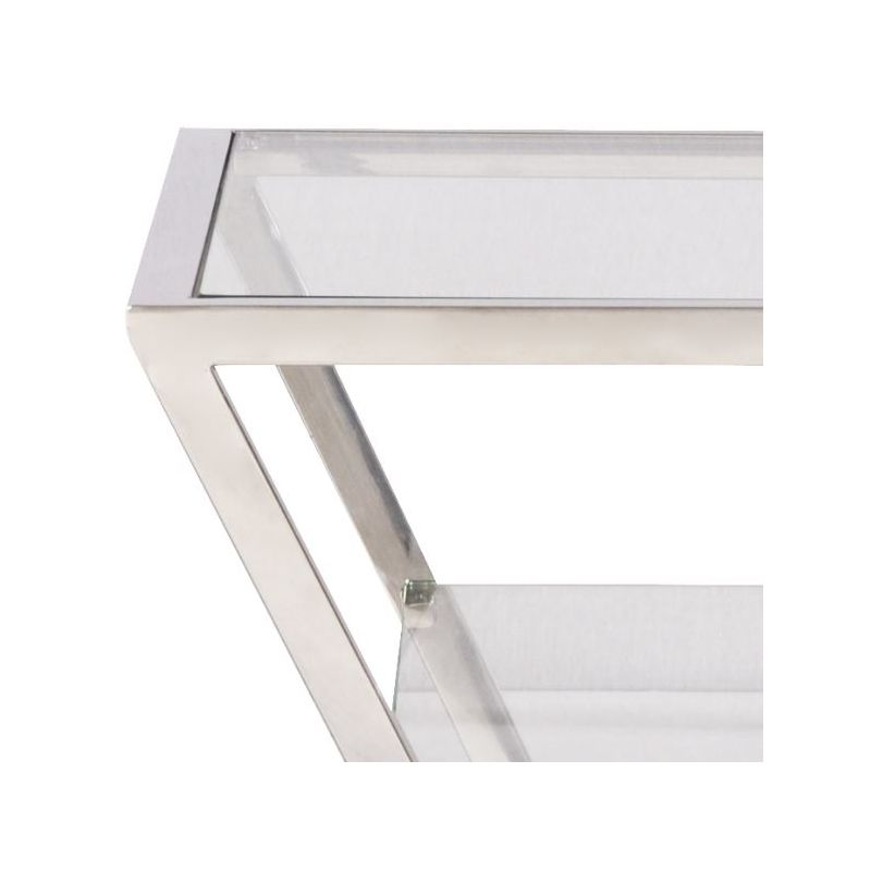 Table de chevet design inox et verre - Tetra