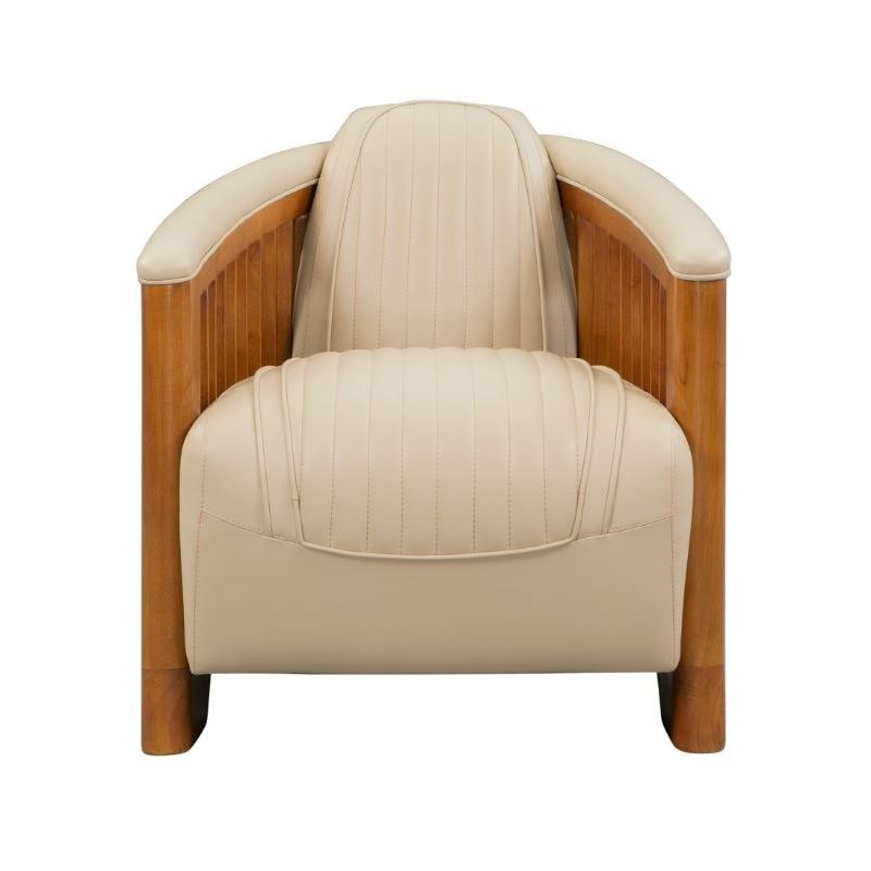 Fauteuil club cuir beige - Antibes