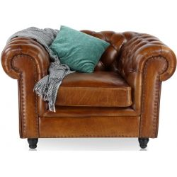 Fauteuil chesterfield cuir marron vintage - Grand