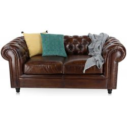 Canapé chesterfield cuir marron soutenu GM - 2 places