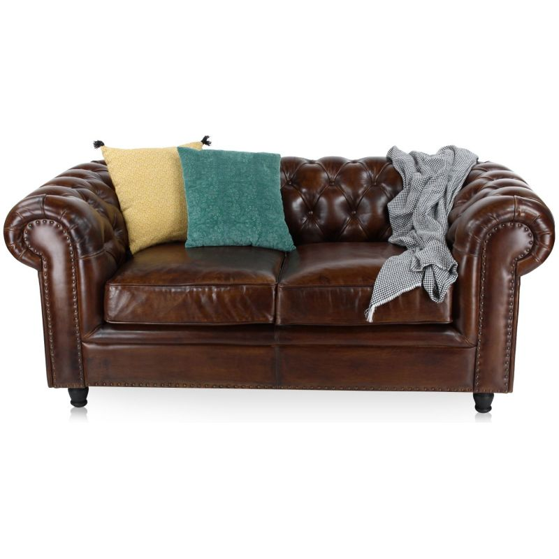 Canapé chesterfield cuir 2 places marron soutenu
