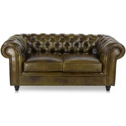 Canapé chesterfield cuir vert olive PM - 2 places